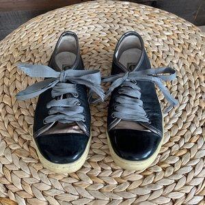 Lanvin Cap-Toe Leather Ribbon Sneakers